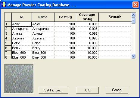 Bar Nesting Software - PLUS 1D : Define Powder Coating